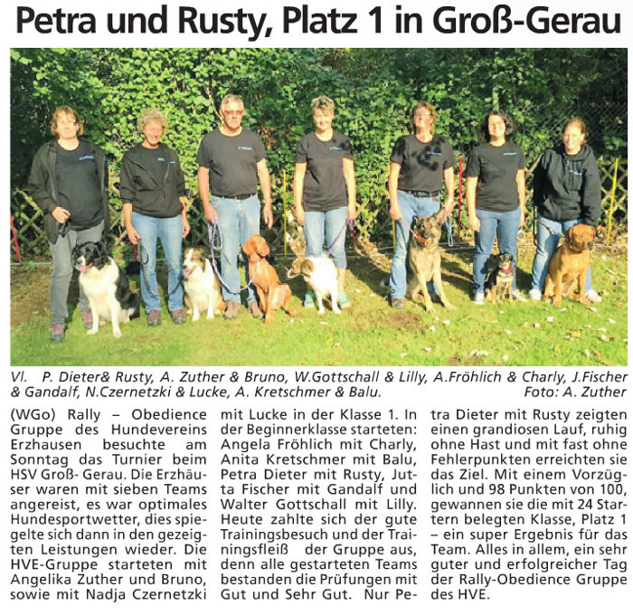 Bericht Rally Obedience in Groß Gerau