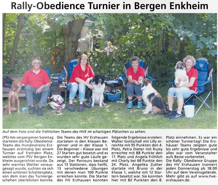 Rally Obedience Team startete in Bergen Enkheim